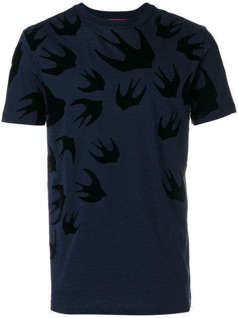 Mcq By Alexander Mcqueen Navy Swallows T-shirt