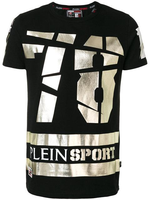 Philipp Plein Round Neck T-shirt Ss 'kurt' In Black/white
