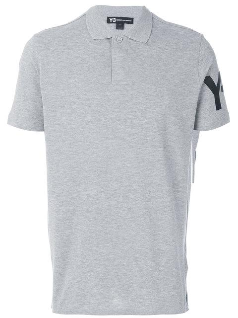 Y-3 Short Sleeve Logo Polo Shirt In Grey