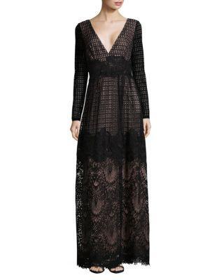 Monique Lhuillier Lacey Maxi Dress In Black Nude