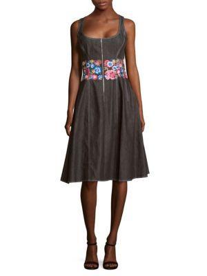 Oscar De La Renta Floral Embroidery Knee-length Dress In Black