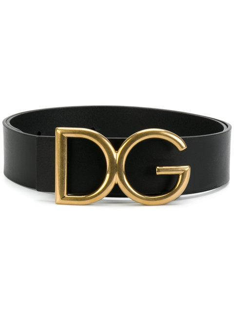 Dolce & Gabbana 40mm Dg Buckle Leather Belt In Black