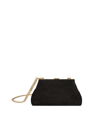 Mansur Gavriel Mini Volume Suede Clutch Bag In Black