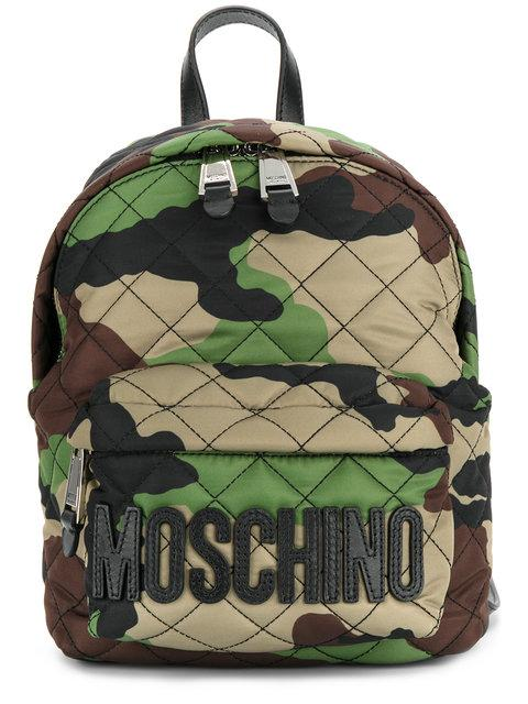 Moschino Quilted Camouflage Mini Backpack In Militare