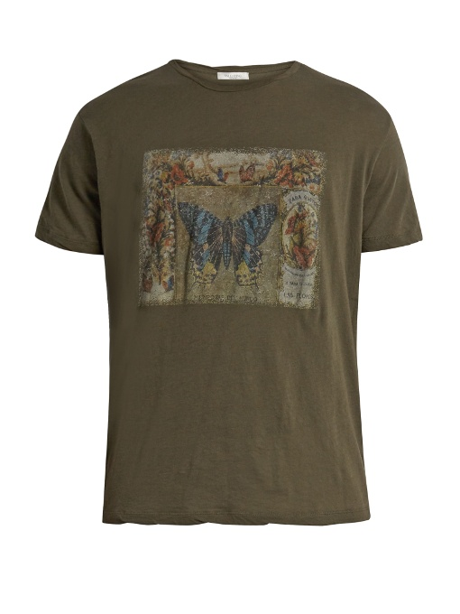 Valentino Butterfly-print Cotton-jersey T-shirt In Green