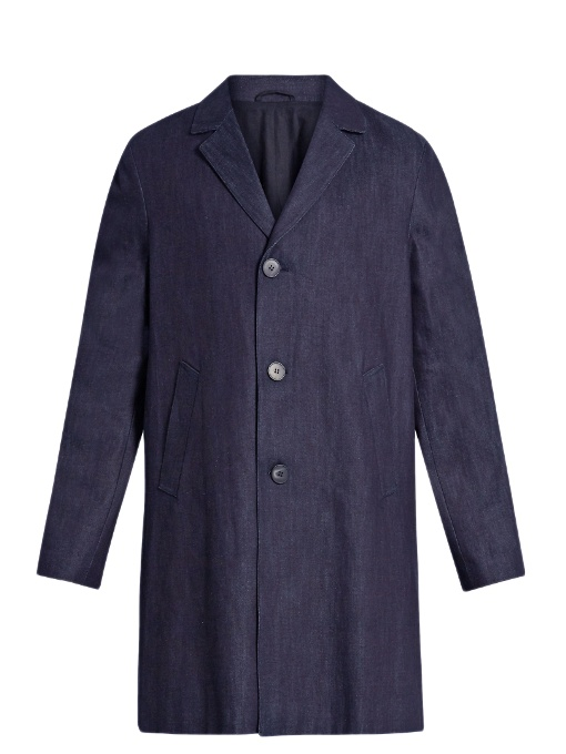 Raey Three-button Denim Coat In Indigo
