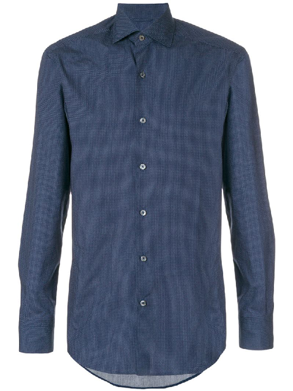 Ermenegildo Zegna Geometric-print Single-cuff Cotton Shirt In Blue