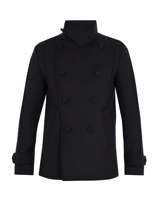Wooyoungmi Funnel-collar Wool-blend Pea Coat In Navy