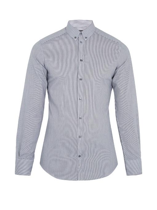 Dolce & Gabbana Single-cuff Striped Cotton Shirt In Black White