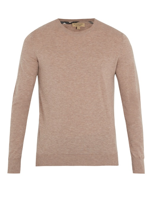 Burberry Kenneth Crew-neck Cashmere Sweater In Camel