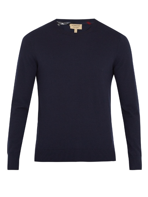Burberry Kenneth Crew-neck Cashmere Sweater In Navy