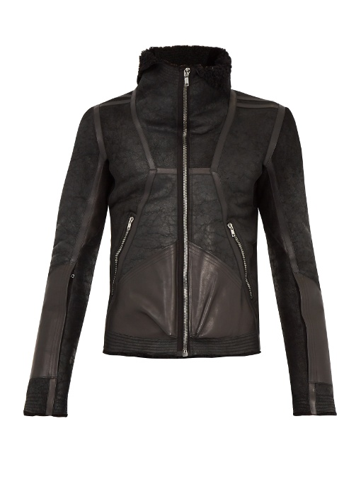 Rick Owens Shearling-lined Leather Jacket In Black