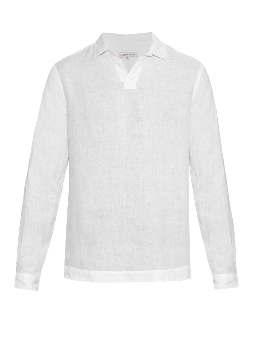 Orlebar Brown Ridley Long-sleeved Linen Shirt In White