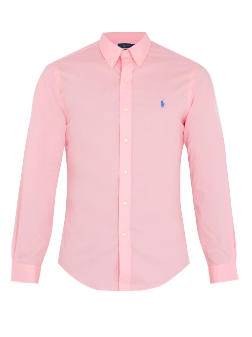 Polo Ralph Lauren Slim-fit Stretch-cotton Shirt In Pink