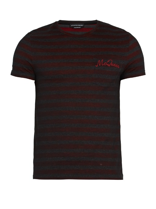 Alexander Mcqueen Logo-embroidered Striped Cotton T-shirt In Grey Multi