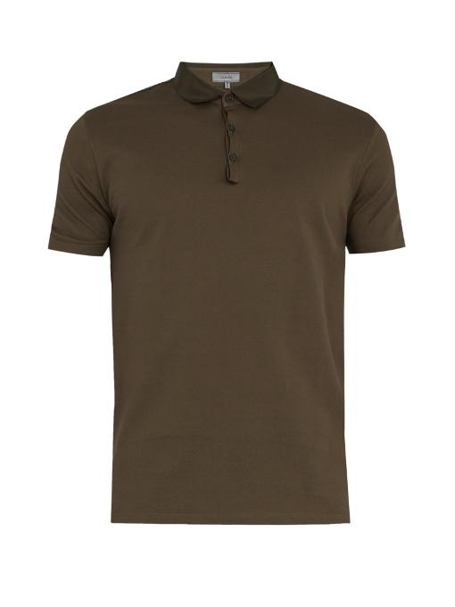 Lanvin Contrasting-collar Cotton-piquÉ Polo Shirt In Khaki