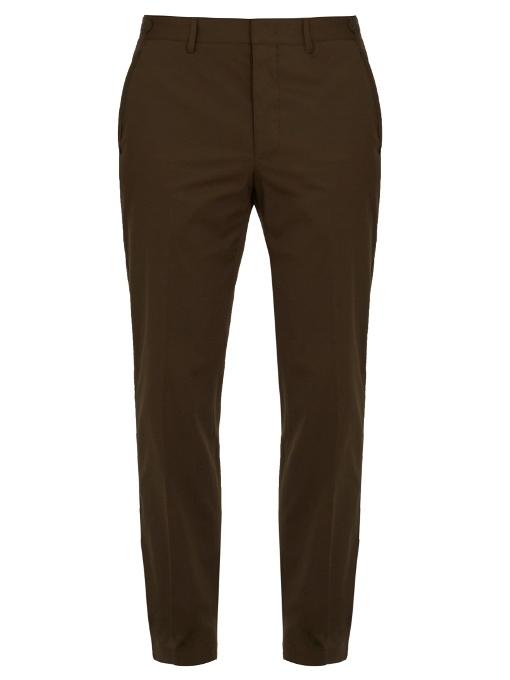 Lanvin Straight-leg Cotton Chino Trousers In Khaki