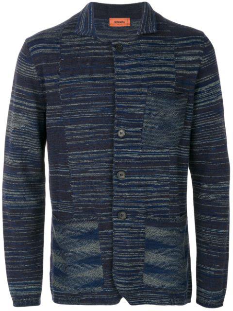 Missoni Knitted Space Dye Cotton Blazer In Blue Multi