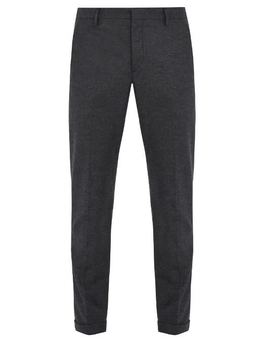 Prada Mid-rise Slim-leg Brushed-wool Tailored Trousers In Dark Grey