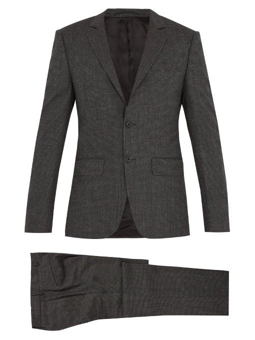 Givenchy Micro-checked Wool-blend Suit In Colour: Grey