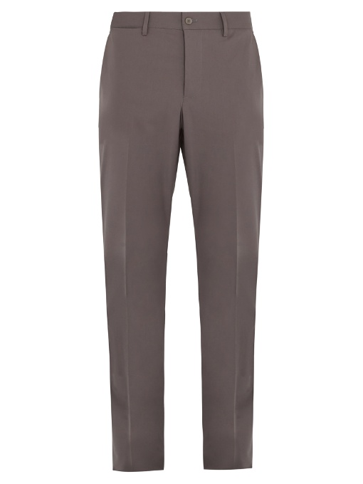 Bottega Veneta Straight-leg Cotton-blend Chino Trousers In Grey