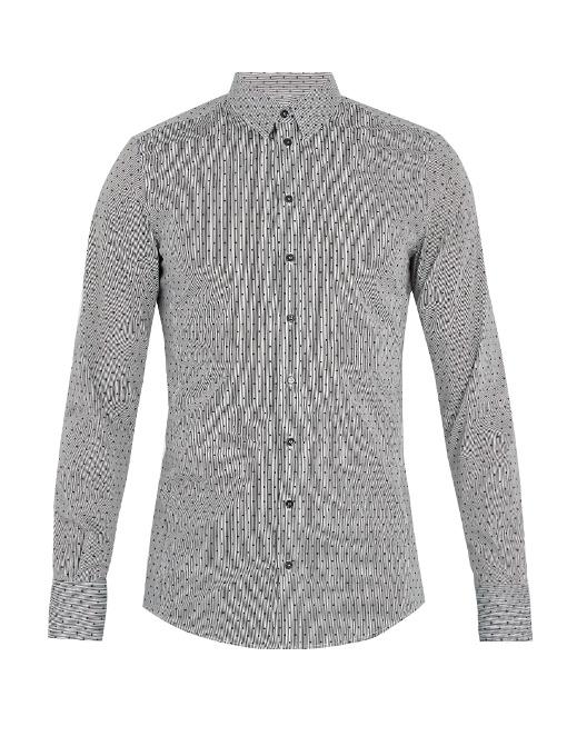Dolce & Gabbana Single-cuff Polka-dot Print Cotton-blend Shirt In Black White