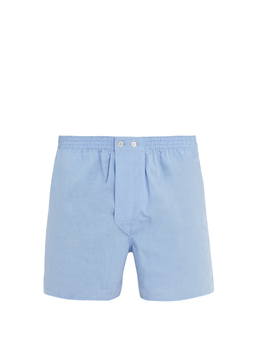 Derek Rose Braemar Cotton-poplin Boxer Shorts In Colour: Light-blue