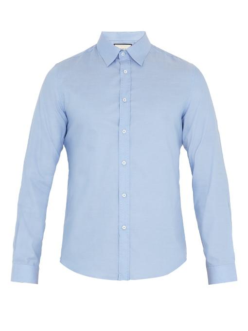 Gucci Duke Point-collar Cotton Shirt In Light Blue