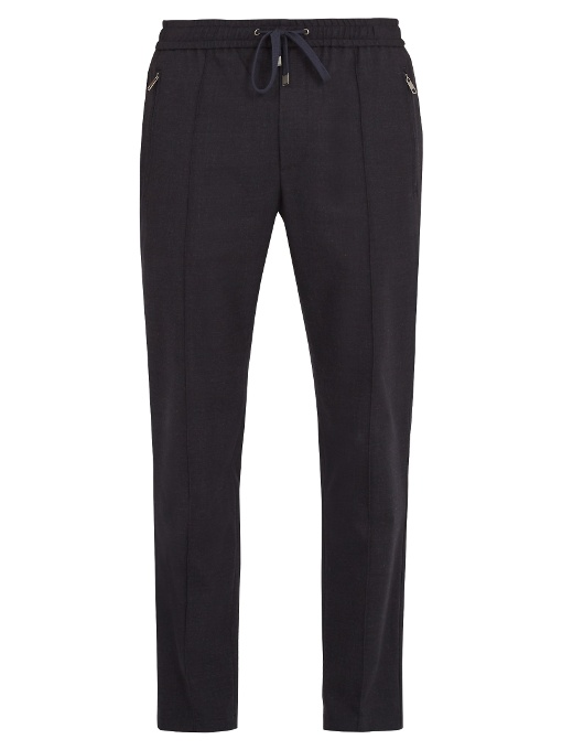 Dolce & Gabbana Drawstring-waist Stretch-wool Trousers In Navy