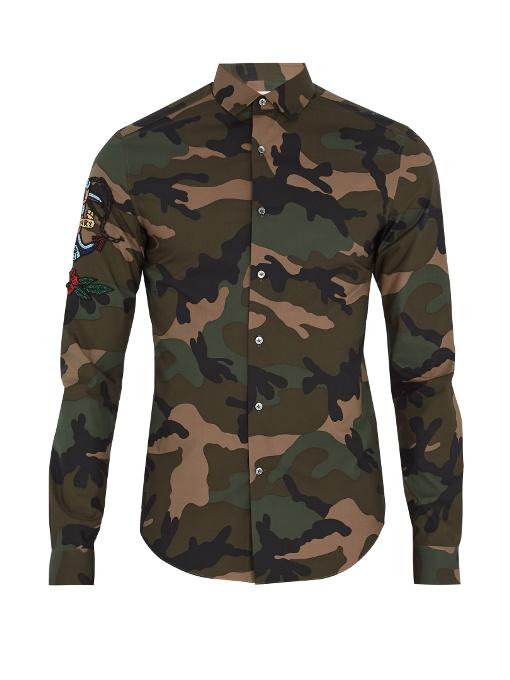 Valentino Tattoo-appliquÉ Camouflage-print Cotton Shirt In Khaki Multi