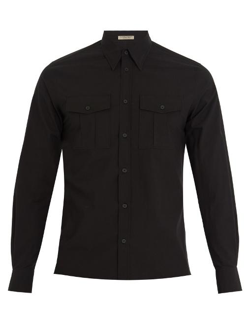 Bottega Veneta Single-cuff Cotton-poplin Shirt In Black