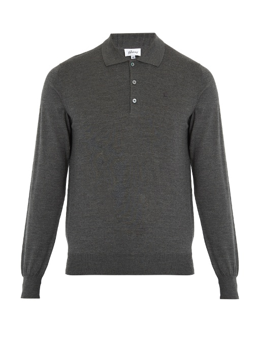 Brioni Long-sleeved Wool Polo Shirt In Grey