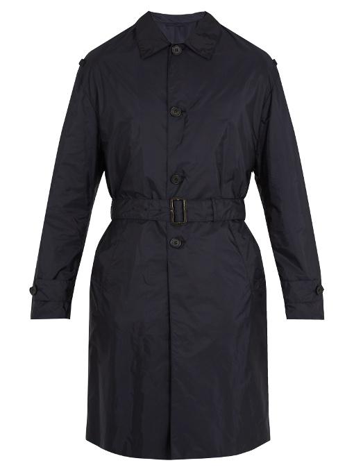 Prada Belted Nylon Trench Coat In Navy