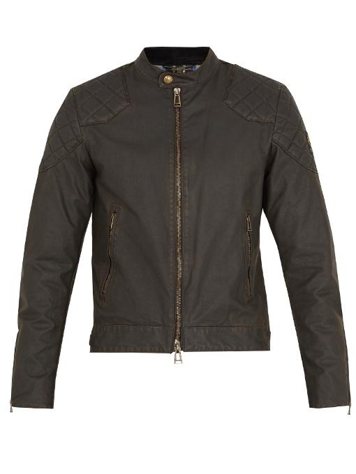 Belstaff Outlaw Waxed Cotton-blend Jacket In Black