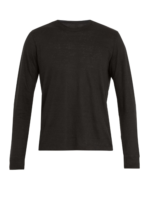 Long-sleeved Linen T-shirt In Black