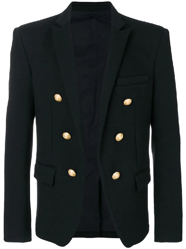 Balmain Black Double-breasted Wool-jersey Blazer