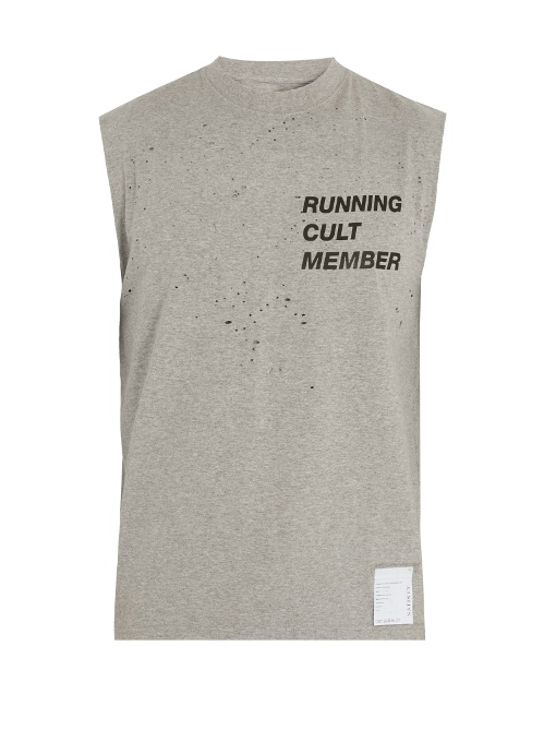 Satisfy Cult Distressed Cotton T-shirt In Grey