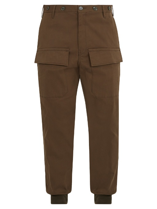 Moncler Relaxed-leg Cotton Cargo Trousers In Khaki