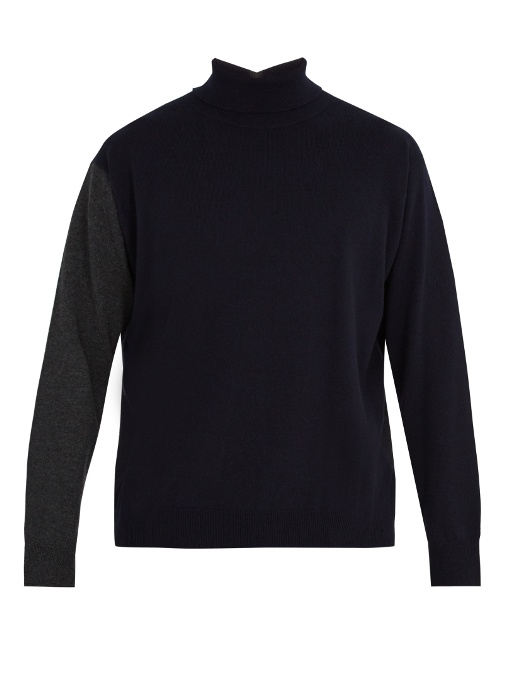 Marni Contrast-back High-neck Cashmere Sweater In Grey Navy
