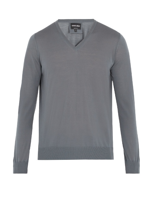 Giorgio Armani V-neck Wool Sweater In Grey