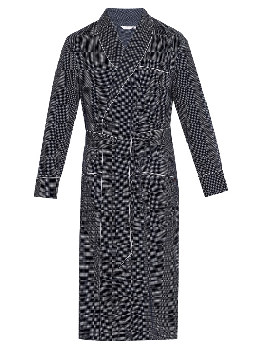 Derek Rose Plaza Polka-dot Print Cotton Bathrobe In Navy