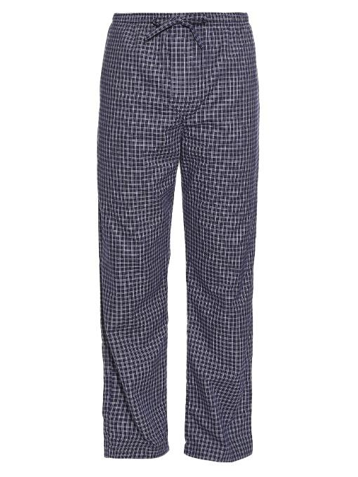 Derek Rose Checked Brushed-cotton Pyjama Trousers In Navy Multi