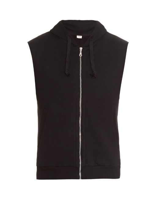 The White Briefs Son Sleeveless Hooded Sweatshirt In Black
