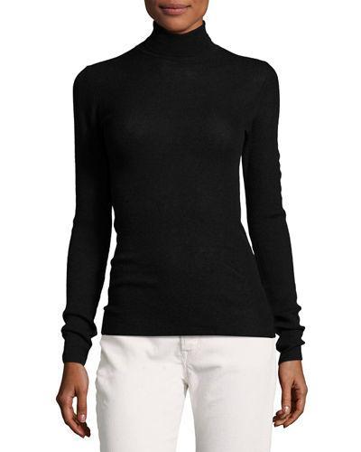 Vince Skinny Rib-knit Cashmere Turtleneck Sweater In Black