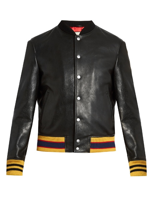 Gucci Tiger Bead-embellished Leather Bomber Jacket In Black Multi