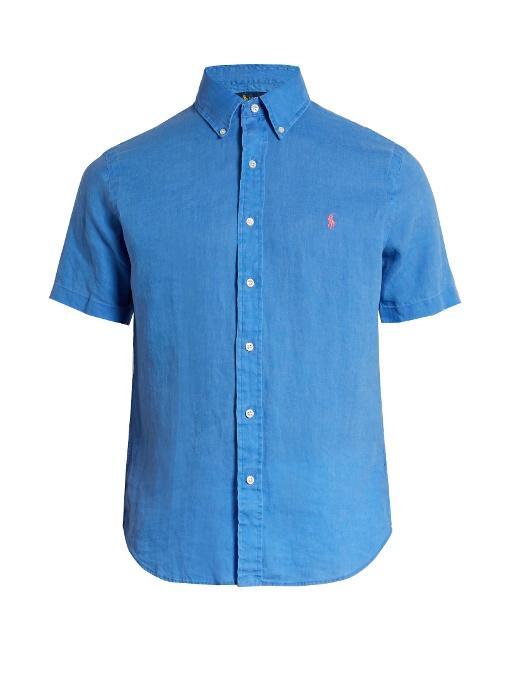 Polo Ralph Lauren Short-sleeved Linen Shirt In Blue