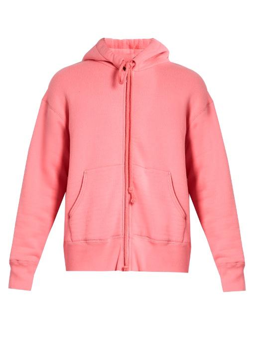 Raey Zip-through Japanese-jersey Hooded Sweatshirt In Pink