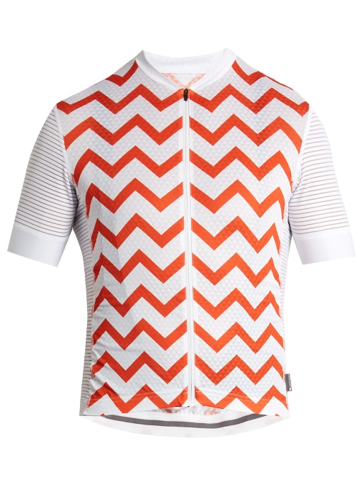 Cafe Du Cycliste Micheline Zip-through Cycle Top In Orange Multi