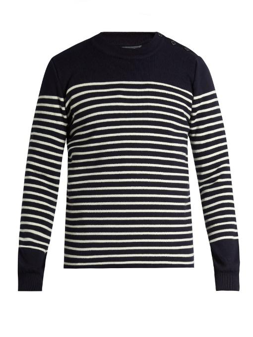 Cafe Du Cycliste Genevieve Striped Wool-blend Sweater In Navy Stripe