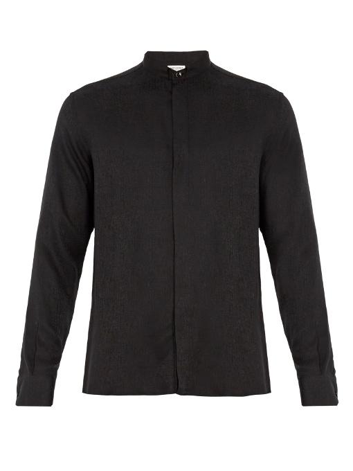 Saint Laurent Wingtip-collar Single-cuff Cotton Shirt In Black